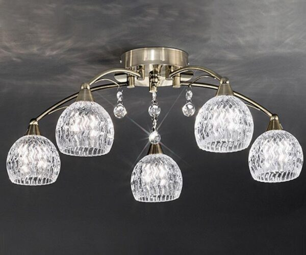 Franklite Jura 5 Light Semi Flush Ceiling Light Bronze Cut Glass Crystal