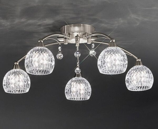 Franklite FL2295/5 Jura 5 light semi flush ceiling light in satin nickel with cut glass shades and crystal