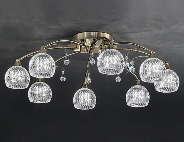 Franklite FL2296/8 Jura 8 light semi flush ceiling light in bronze with cut glass shades and crystal