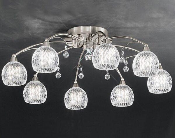 Franklite Jura 8 Light Semi Flush Ceiling Light Satin Nickel Cut Glass Crystal