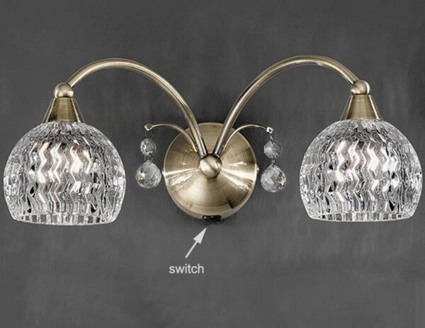 Franklite FL2296/2 Jura twin switched wall light in bronze with cut glass shades and crystal