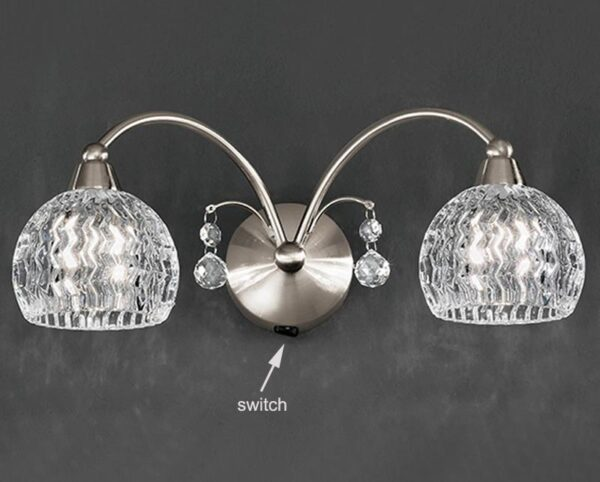 Franklite FL2295/2 Jura twin switched wall light in satin nickel with cut glass shades and crystal