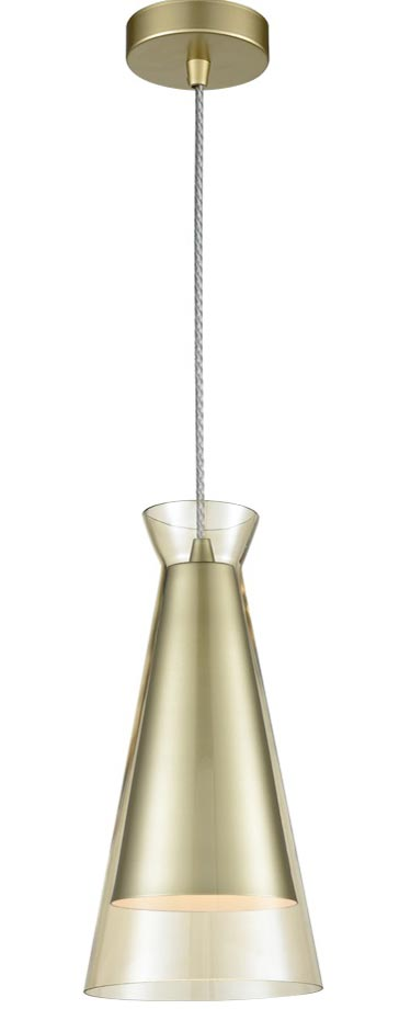 Classic 1 Light Ceiling Pendant Gold Conical Champagne Glass Shade