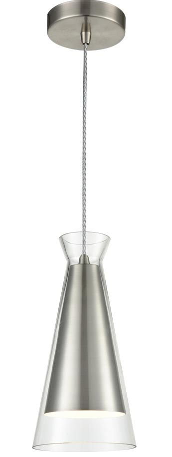 Classic 1 Light Ceiling Pendant Satin Nickel Conical Clear Glass Shade