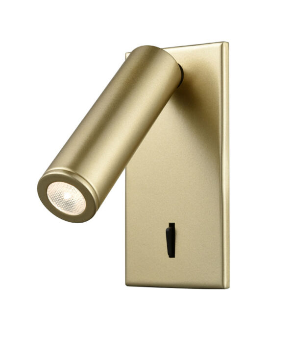 Adjustable Recessed 3w LED Switched Bed Reading Light Matt Gold