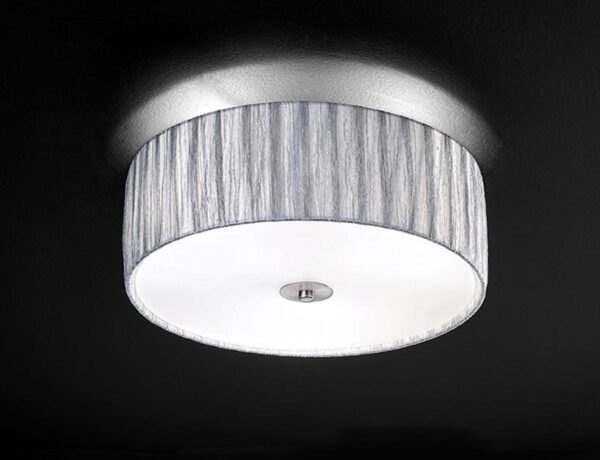 Franklite Lucera 3 Light Silver Fabric Flush Mount Ceiling Light