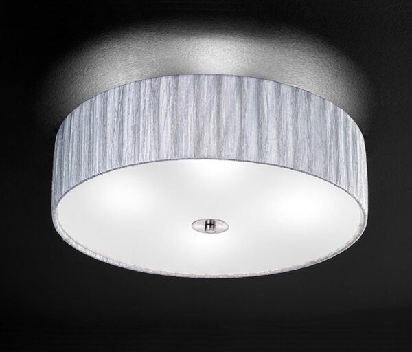 Franklite Lucera 4 Light Silver Fabric Flush Mount Ceiling Light
