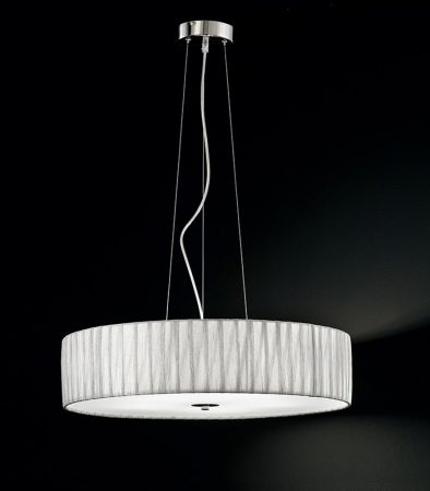 Franklite Lucera 5 Light Silver Fabric Pendant Ceiling Light