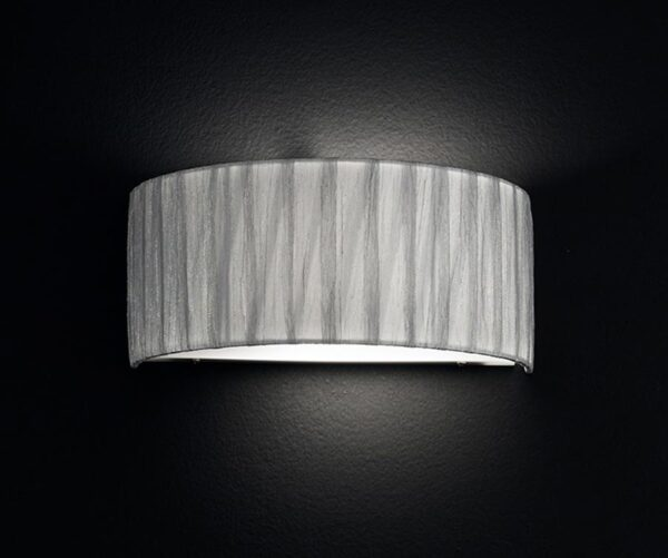 Franklite Lucera 1 Light Silver Fabric Half Round Wall Light