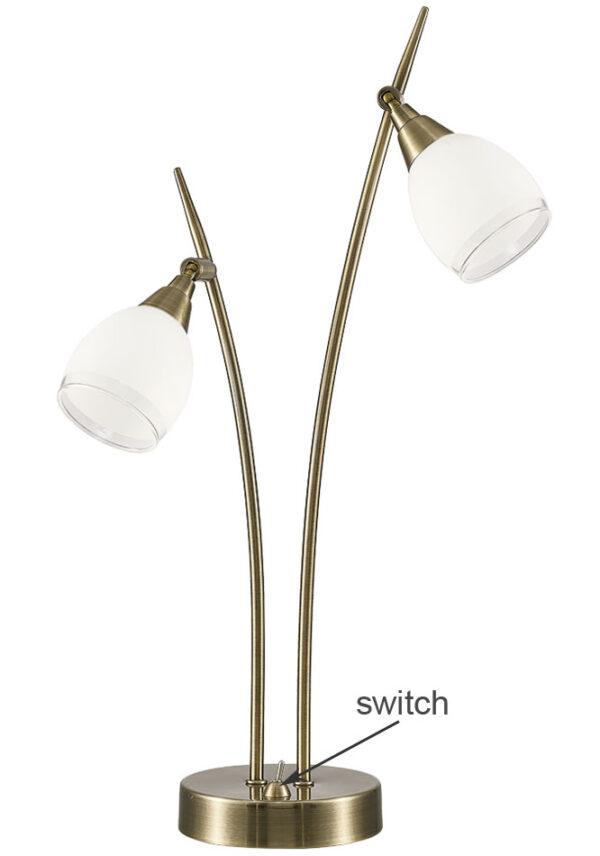 Quality 2 Light Table Lamp Bronze Finish Satin White Glass Shades