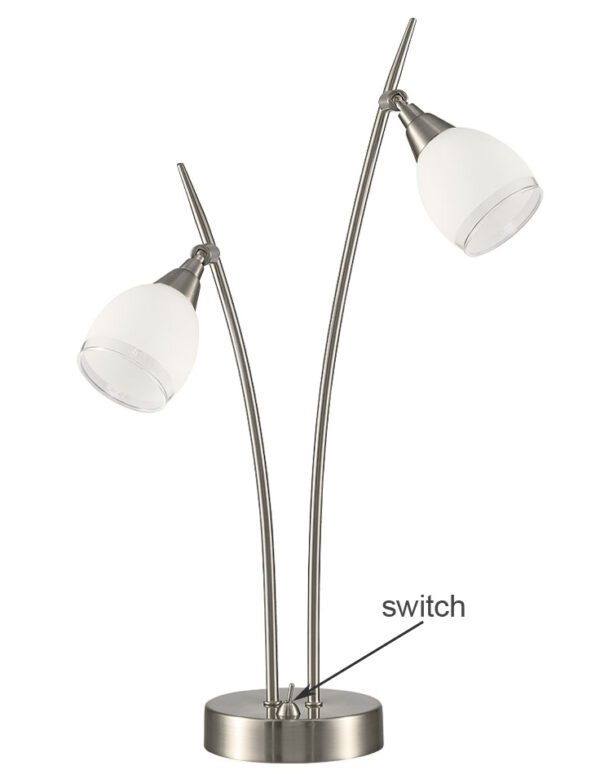 Franklite TL983 Lutina 2 light table lamp in satin nickel