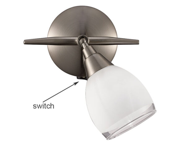 Franklite SPOT8971 Lutina single switched wall spot light satin nickel
