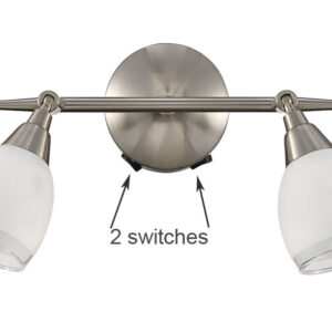 Quality 2 Light Switched Wall Spot Light Satin Nickel White Glass Shades