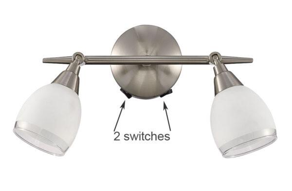 Franklite SPOT8972 Lutina 2 light switched wall spot light in satin nickel