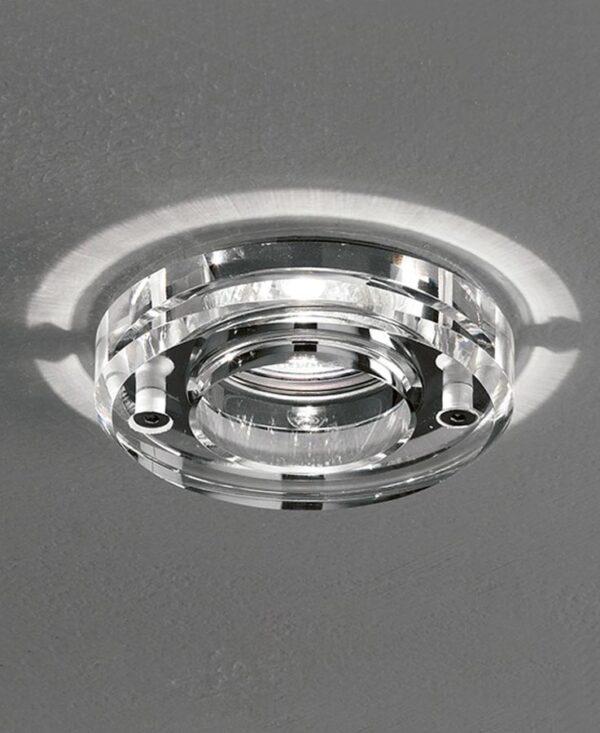 Mains Voltage Round Crystal Bathroom Down Light Polished Chrome IP65