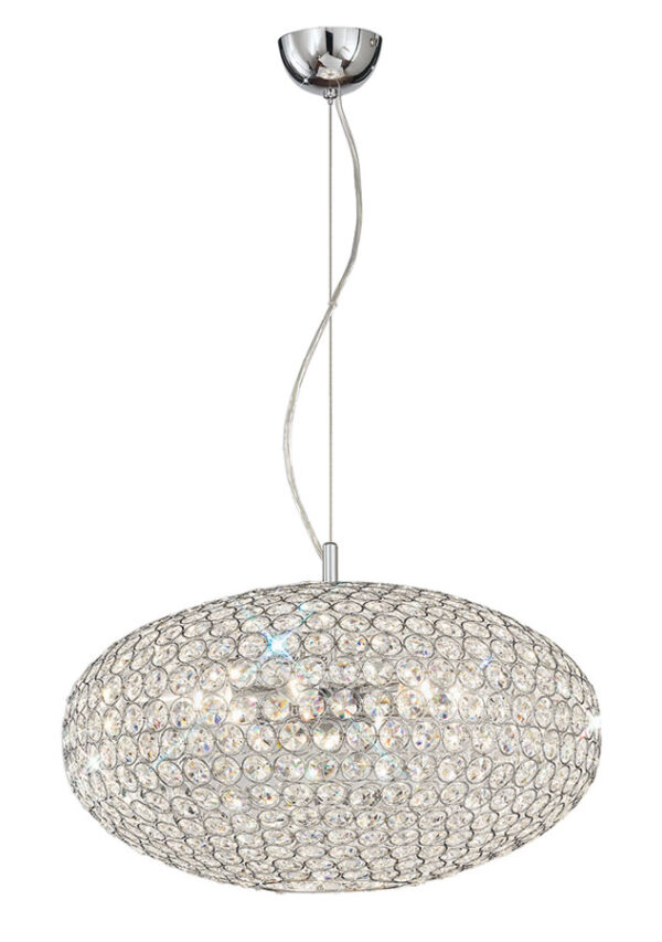 Franklite FL2273/6 Marquesa 6 light ceiling pendant in polished chrome with crystal buttons