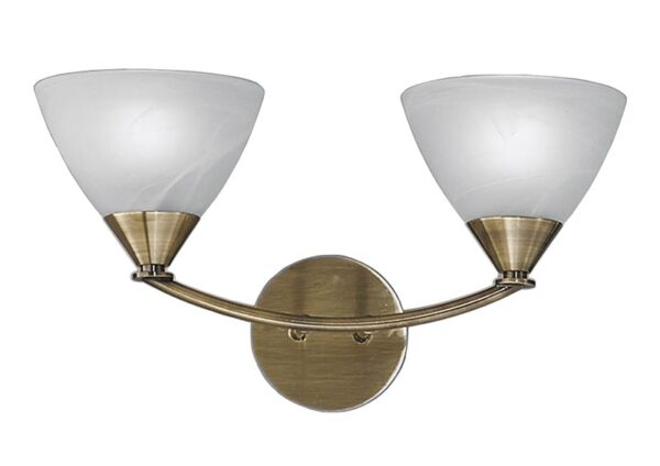 Franklite PE9662/786 Meridian 2 light wall light in brushed bronze with alabaster glass shades