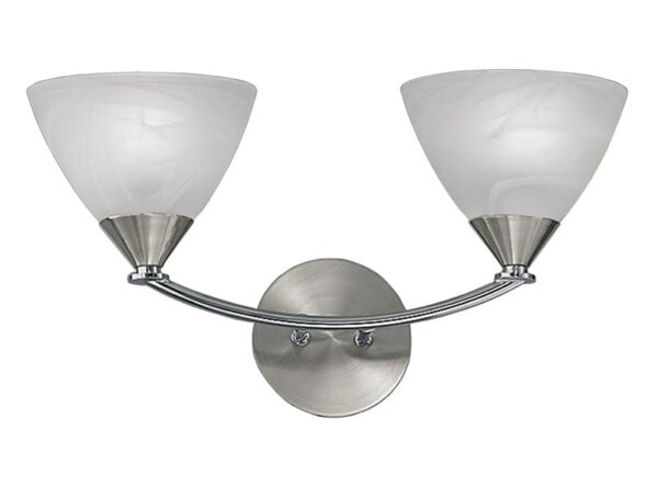 Franklite PE9672/786 Meridian 2 light wall light in brushed nickel with alabaster glass shades