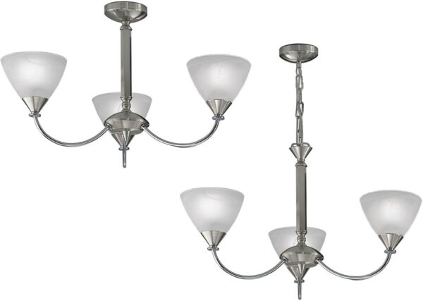 Franklite PE9673/786 Meridian 3 arm dual mount ceiling light in brushed nickel with alabaster glass shades main image