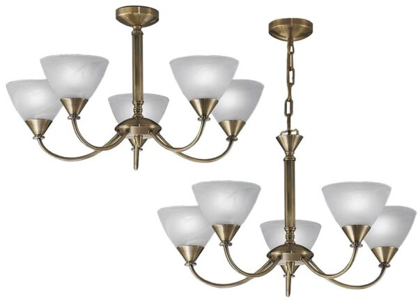 Franklite PE9665/786 Meridian 5 arm dual mount ceiling light in brushed bronze with alabaster glass shades main image