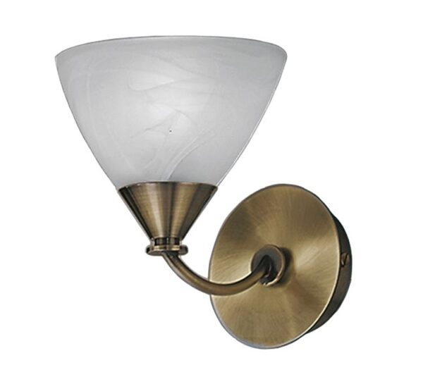 Franklite PE9661/786 Meridian single wall light in brushed bronze with alabaster glass shade