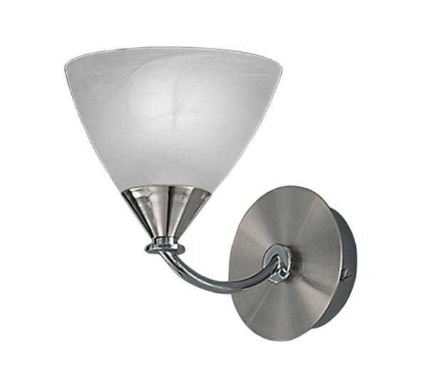 Franklite PE9671/786 Meridian single wall light in brushed nickel with alabaster glass shade