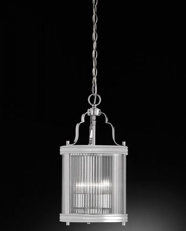 Franklite Merton 3 Light Hanging Lantern Polished Chrome Reeded Glass
