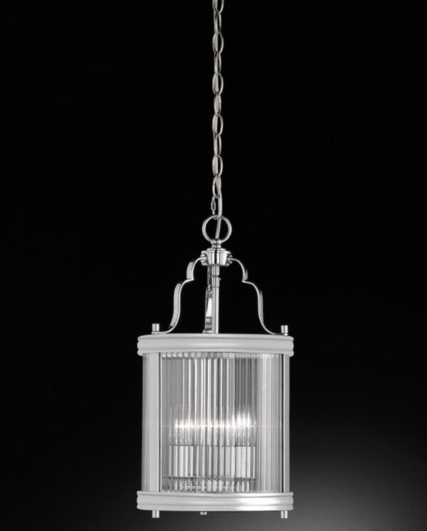 Contemporary 3 Light Hanging Lantern Polished Chrome Reeded Glass