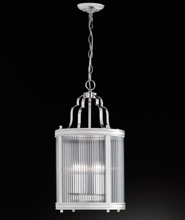 Contemporary 4 Light Hanging Lantern Polished Chrome Reeded Glass
