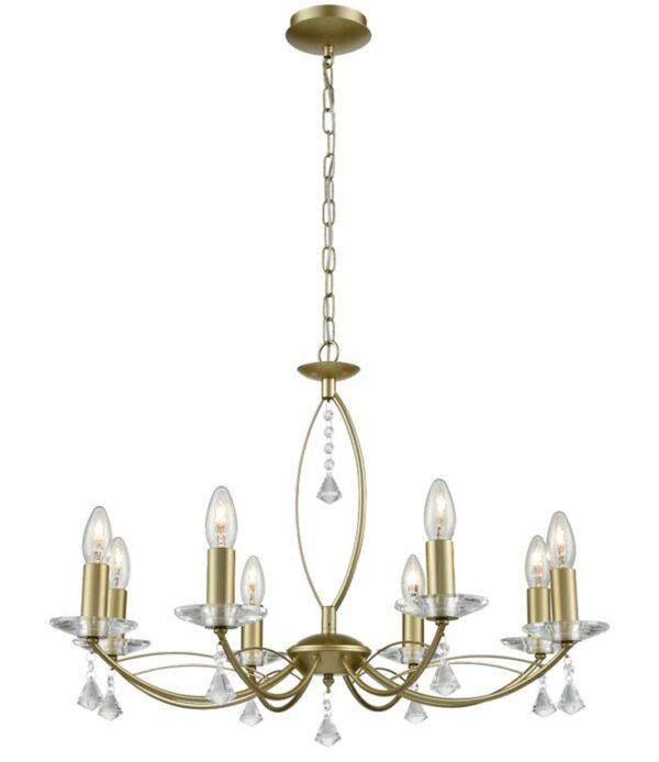 Franklite FL2385/8 Monaco 8 light dual mount chandelier in matt gold