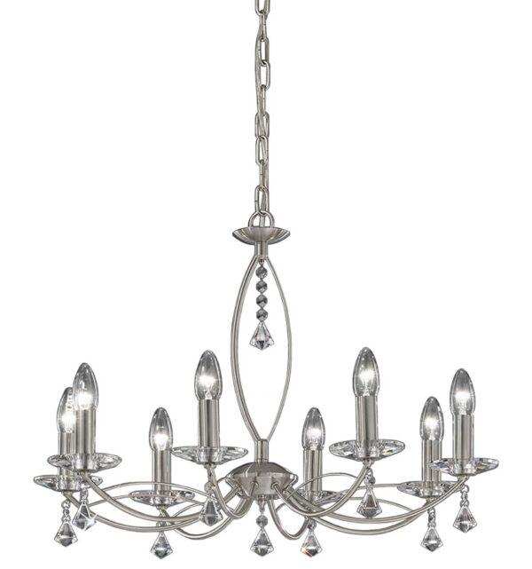 Franklite FL2225/8 Monaco 8 light dual mount chandelier in satin nickel with crystal