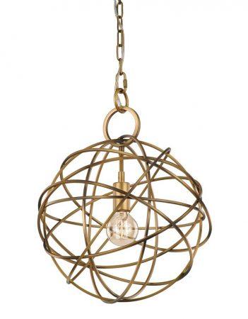 Franklite Orbit 1 Light Pendant Ceiling Light Globe Matt Gold