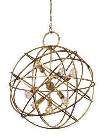Franklite Orbit 7 Light Large Ceiling Pendant Globe Matt Gold