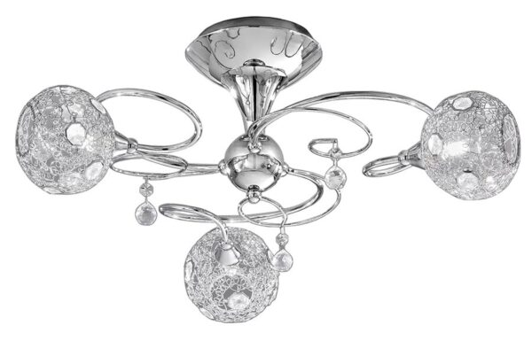Franklite Orion 3 Light Semi Flush Ceiling Light Chrome Crystal