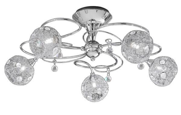 Franklite Orion 5 Light Semi Flush Ceiling Light Chrome Crystal
