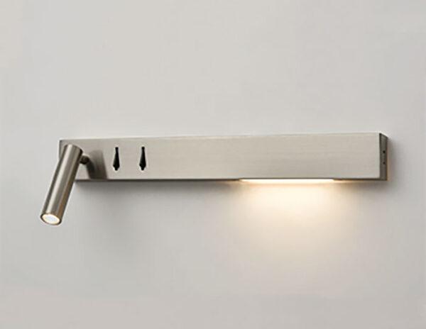Over Bed Right Hand LED Light / Reading Light USB Port Satin Nickel