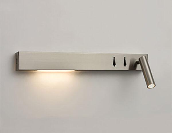 Over Bed Left Hand LED Light / Reading Light USB Port Satin Nickel