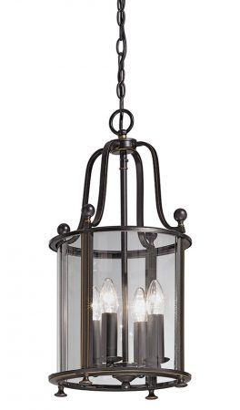 Franklite Pasillo 4 Light Antique Bronze Hanging Hall Lantern
