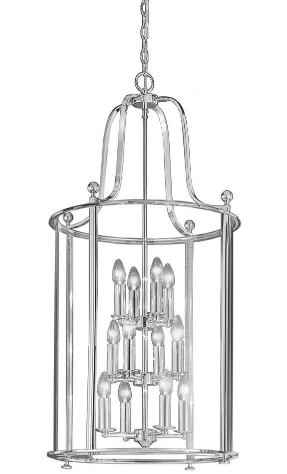 Franklite LA7000/12 Pasillo very large 12 light polished chrome hanging lantern