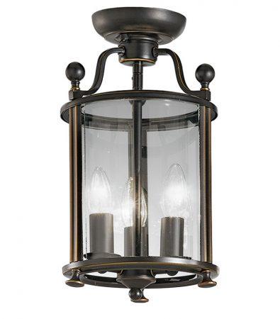 Franklite Pasillo Bronze Flush Mount 3 Light Ceiling Lantern