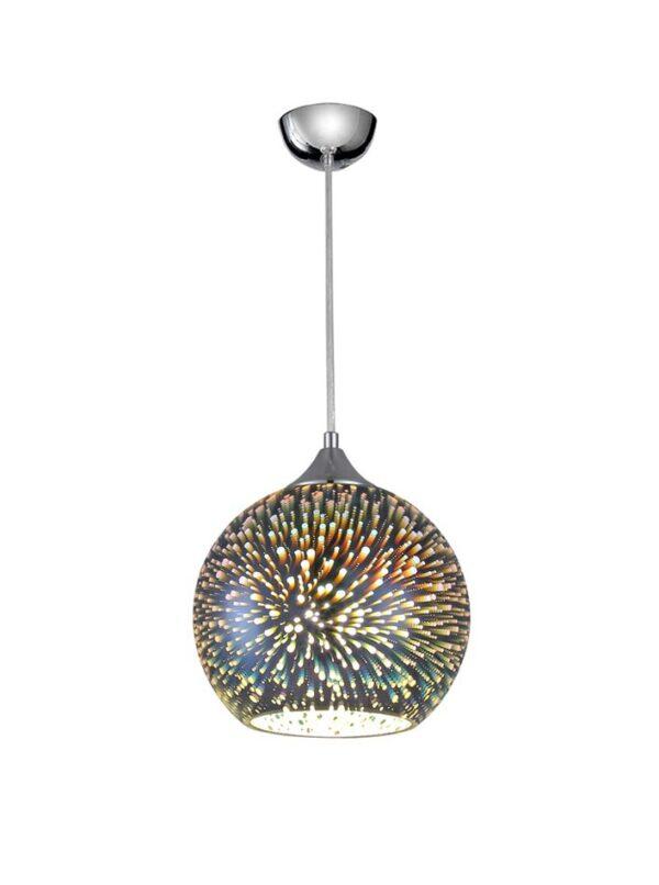 Medium 70s Retro Style 1 Light 3D Ceiling Pendant Silver Glass Chrome