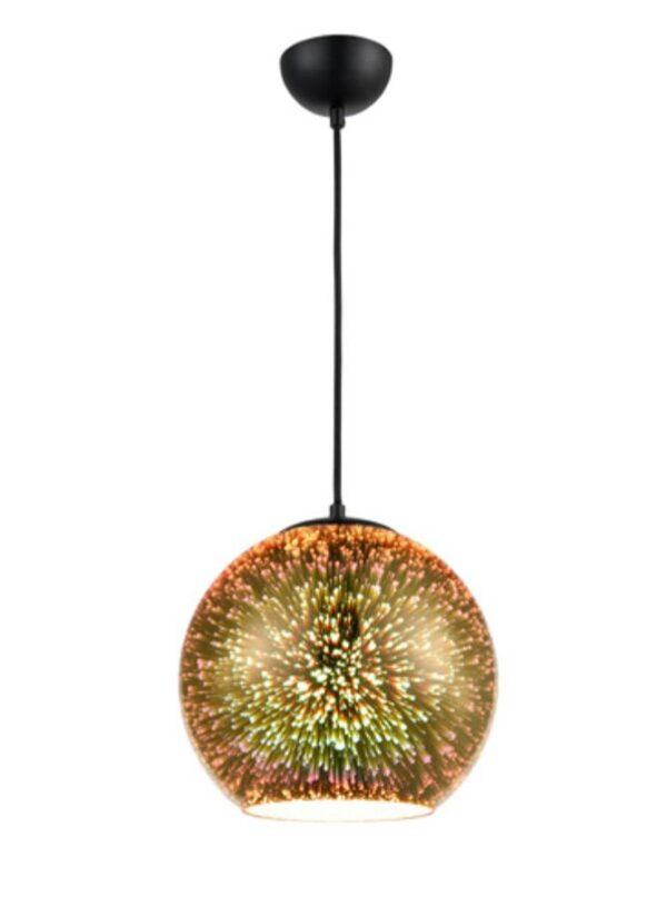 Large 70s Retro Style 1 Light 3D Ceiling Pendant Gold Glass Matt Black