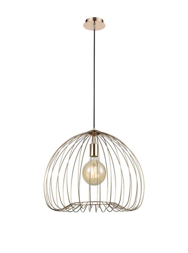 Medium Classic 1 Lamp Birdcage Pendant Ceiling Light Gold Finish