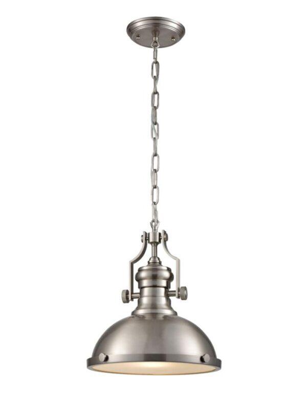 Industrial Style Single Metal Chain Pendant Ceiling Light Satin Nickel