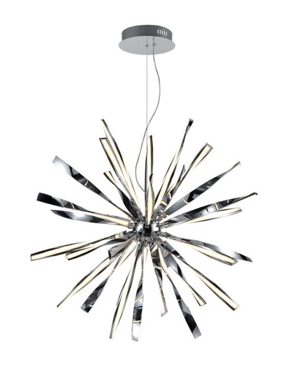 Contemporary 30 Light Dimmable LED Starburst Ceiling Pendant Chrome