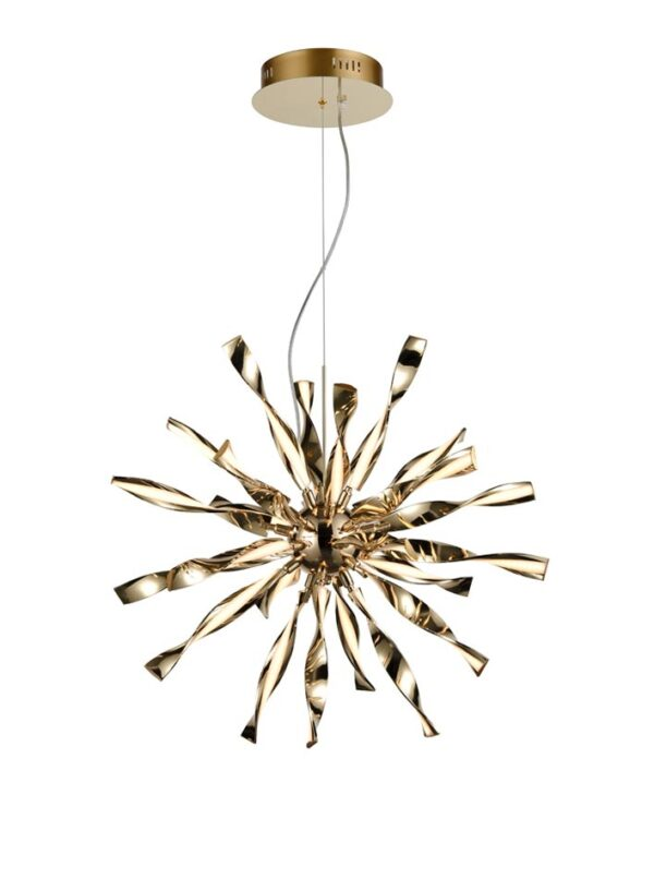 Contemporary 24 Light Dimmable LED Starburst Ceiling Pendant Gold