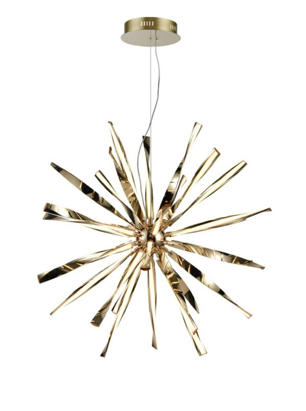 Contemporary 30 Light Dimmable LED Starburst Ceiling Pendant Gold