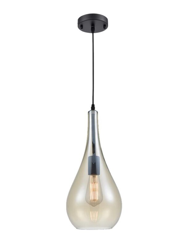 Classic Pale Amber Glass Droplet Single Ceiling Pendant Light Black