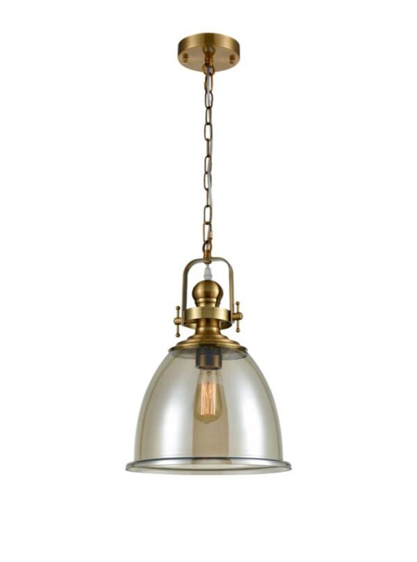 Large Amber Bell Glass Single Chain Pendant Ceiling Light Antique Gold