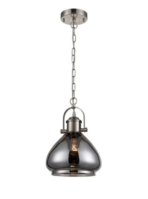 Industrial Style Smoked Glass Chain Pendant Ceiling Light Satin Nickel